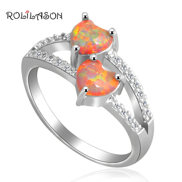 Two hearts design Shining  Jewelry Orange Fire Opal silver color Stamped Rings for women USA #6#7#7.5#8.5#9 OR705