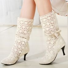 Free Shipping  New 2014 Spring and Autumn Women Boots Knee high boots Knitting Hollow Autumn Boots Women Boots Big Size 34-43
