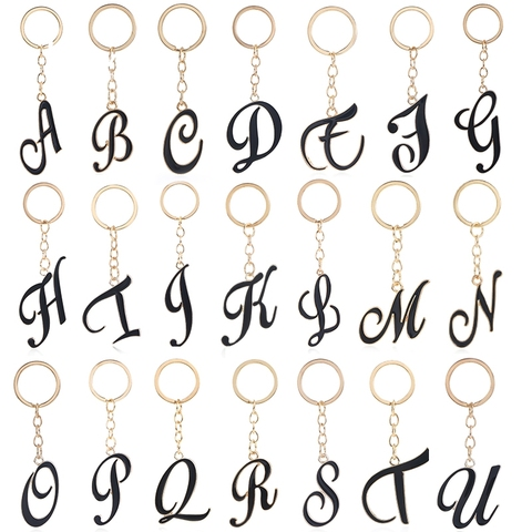 A-Z Crystal Alphabet Keyrings Initial Letter Unisex Keychains Gifts Women Men