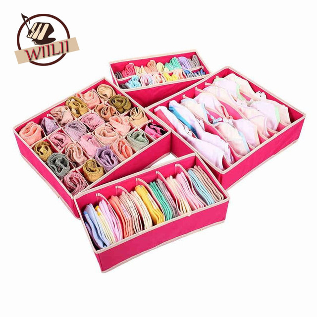 Foldable Beige Rose Boxes For Underwear Bra Socks Tie Lingerie Organizer Divider Wardrobe TIdy Caixa Desktop Storage Box Supply