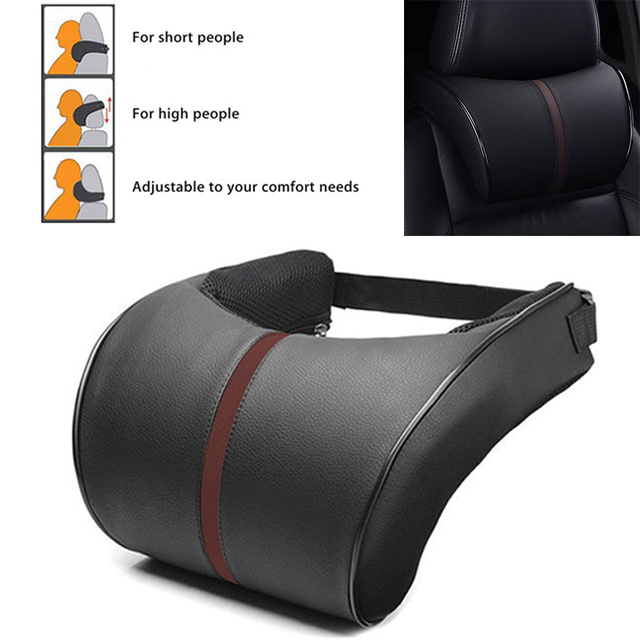 Neck Pillow Headrest Rest Cushion Car Sleeping Creative Car Aid Auto Toy Memory Foam Pillow Leather Black Car Decoration