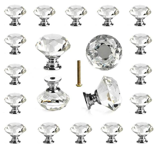25 pcs Glass Cabinet Knobs Crystal Drawer Pulls Clear 30 mm Diamond for Kitchen, Bathroom Cabinet, Dresser and Cupboard