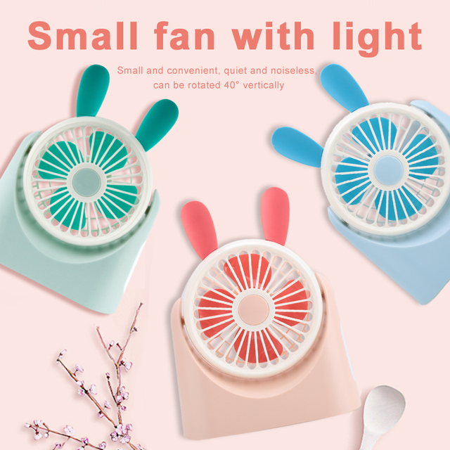 Handheld Personal Fan Pocket Fan Portable Mini ABS+TPE with Light USB Rechargeable Outdoor Travel