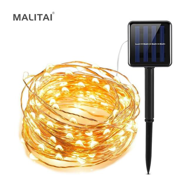 LED Strip 5M 10M 20M LED Fairy Light String Outdoor Garland Christmas Wedding Party Decoration Solar USB Power Copper Wire lamp