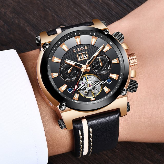 LIGE Men Watches Top Brand Luxury Business Automatic Mechanical Watch Men Large Dial Leather Waterproof Watch Relogio Masculino