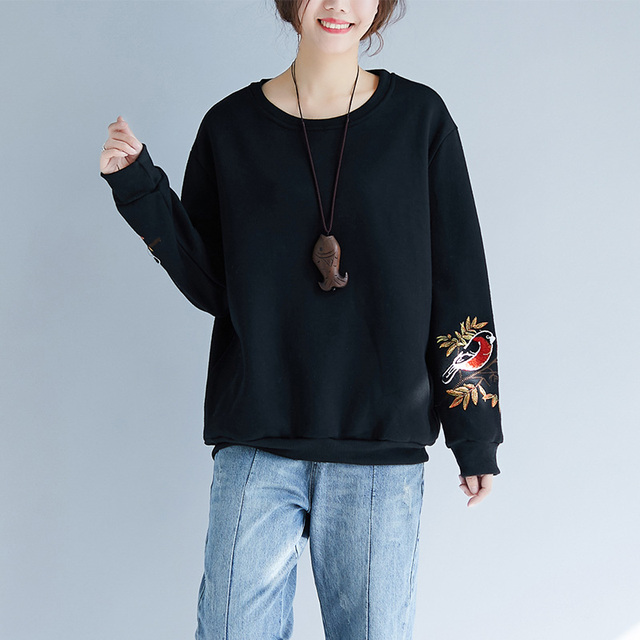 Casual Harajuku Sweet Hippie Boho Loose Baggy Embroidery Floral Velvet Thick Long Sleeve Pullover Sweatshirts Women Spring Tops