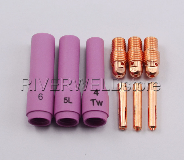 TIG KIT Long Alumina Nozzle Collet Bodies Consumables Accessories Fit TIG Welding Torch WP SR PDA DB 9 20 25,9pcs