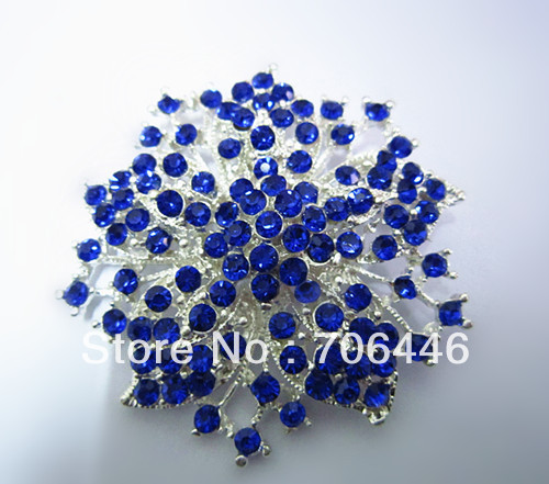 2.2 Inch Silver Plated Classic Royal Blue Rhinestone Crystal Diamante Party Brooch