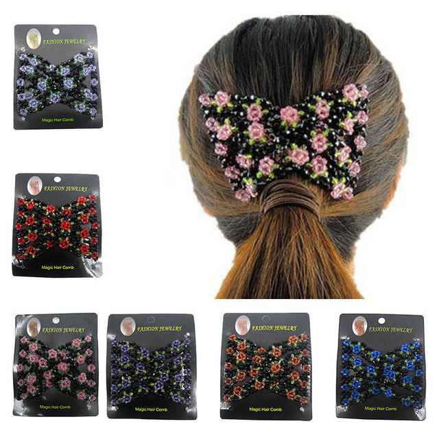 Hair Comb Modeling Fashion Hair Clips Stretchy Double Elasticity Clip Women Girls Party Beads Magic Beauty Design
