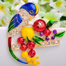 12pcs/lot Wholesale Women's Enamel Birds Brooches Corsage Colares Flower Pin Brooch Baby Brooch Jewelry Bags Accessories