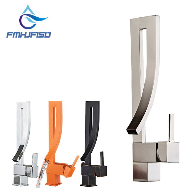 Elegant Chrome Brass Bathroom Square Faucet Luxury Sink Mixer Tap Deck Mounted Hot And Cold Mixer Tap Faucet