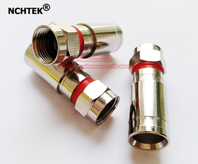 NCHTEK RG6 Weatherproof F Compression Connector Red Band/Free Shipping/50pcs