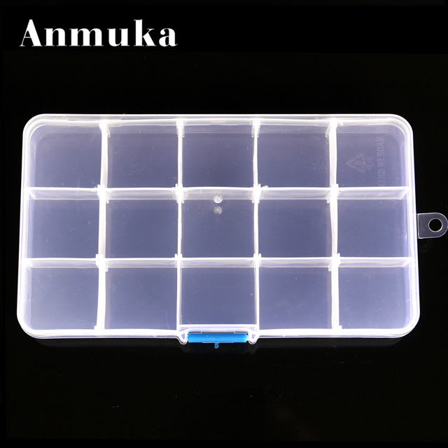 Anmuka 15 Grid Detachable Transparent Plastic Storage Box Makeup Jewelry Pearl Fishing Gear Electric Accessories Storage Box