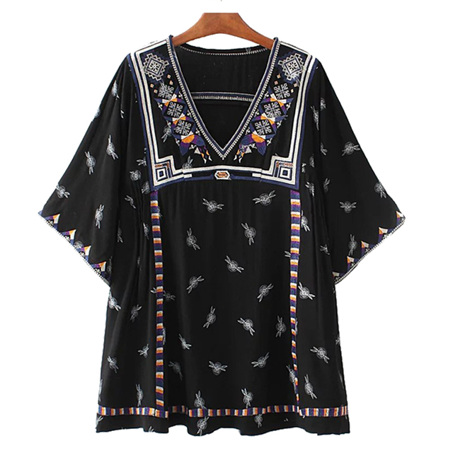 2017 Limited Spring V-neck Three Quarter A-line Casual Polyester Plus Size New Women Flower Embroidery Sleeve Dresses Dress