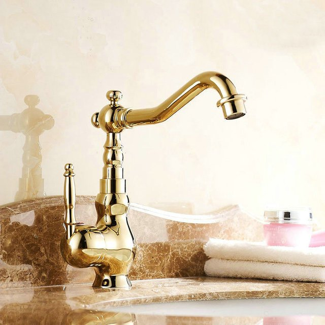 Bathroom Sink Basin Faucet Copper Basin Mixer Tap Golden Polished Faucets  Water-tap 9065G