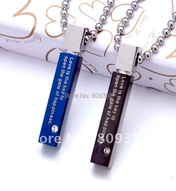 2 Colors Stainless Steel Necklace Blue Black Quadrate Letter Zircon Men's Couple Lovers' Pendant Necklaces 1130