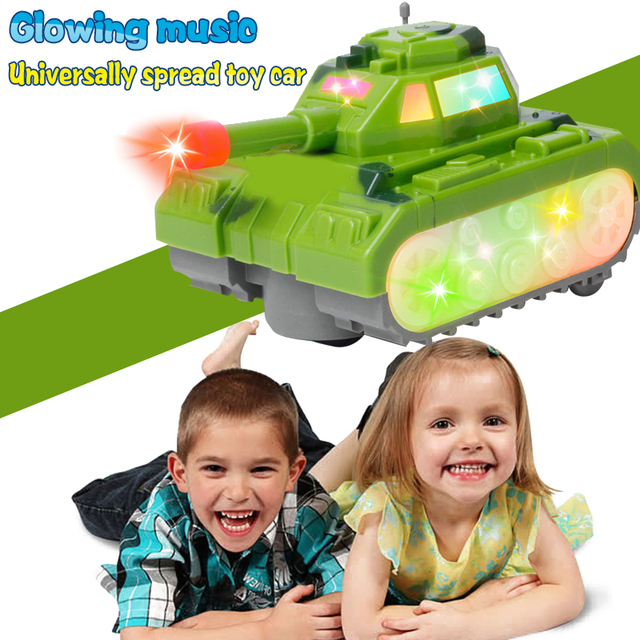 Novedad juguetes luminosos Interesting Glowing toys Entertainment Gift Plastic Electric Light Toy Tank  Music Toy Tank