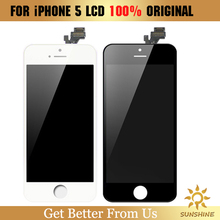 1PCS 100% Original for foxconn for iPhone 5 LCD Display touch screen with digitizer replacement assembly parts black/white color