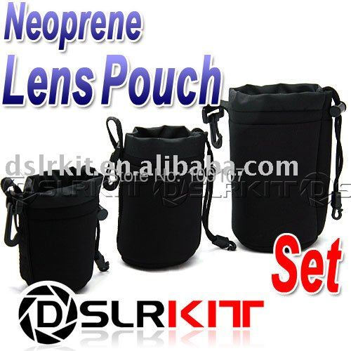 3pcs Neoprene Lens Pouch Case 70x110 85x140 90x170 mm