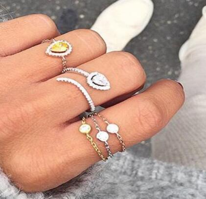 2018 high quality nice jewelry rings tear drop birthstone black red white pear shape open adjustable knuckle ring