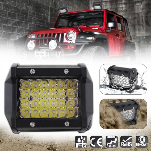 4 Inch 72W 10800LM LED Car Spot Work Light with Four Rows light Bars for Off-road Car / Pickup / Wagon
