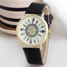 Fabulous 2016 new watch women brand Unique style Womens Vintage Feather Dial faux Leather Band Analog Quartz Watches