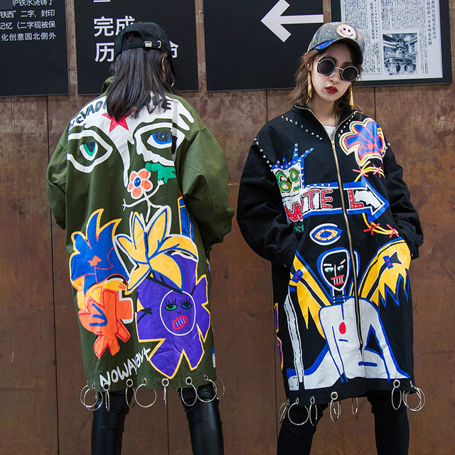 BringBring 2019 Spring and Autumn Punk Style Letters Graffiti Trench Women With Rivet Long Sleeve trench Coat Iron ring 1815