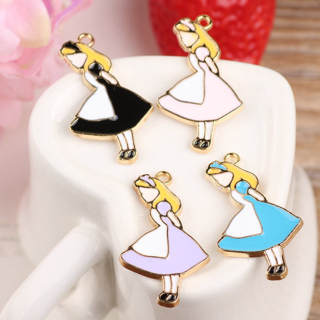 New arrived Cartoon Lovely Girls shape Alloy drop oil gold-color metal jewelry charms diy necklace/phone/key chain pendants