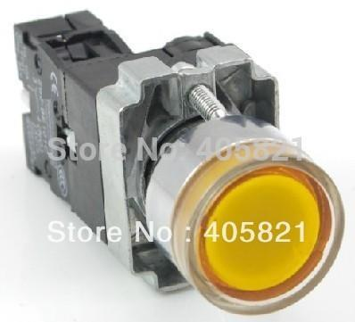 Momentary Yellow Flat Push Button Switch With Pilot Lamp AC/DC 24V 1N/O  22MM Spring Return