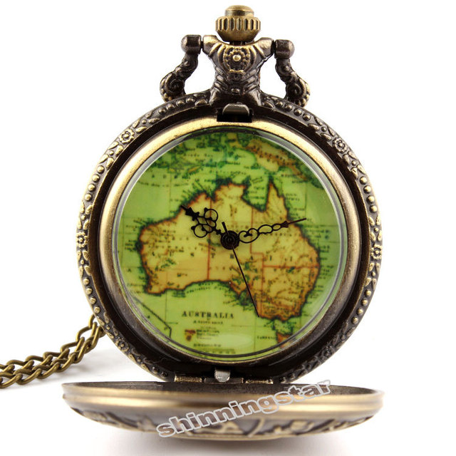 Antique Bronze Australia Map Constellation Pocket Watch Necklace Chain Pendant Quartz Watch Mens Gifts