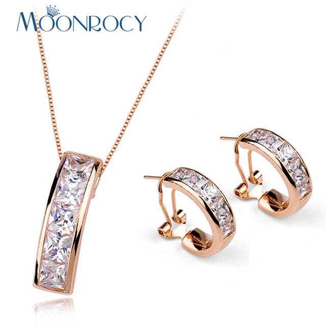MOONROCY Free Shipping Fashion Cubic Zirconia Crystal Necklace and Earrings Jewelry Set Rose Gold Color For Women Gift