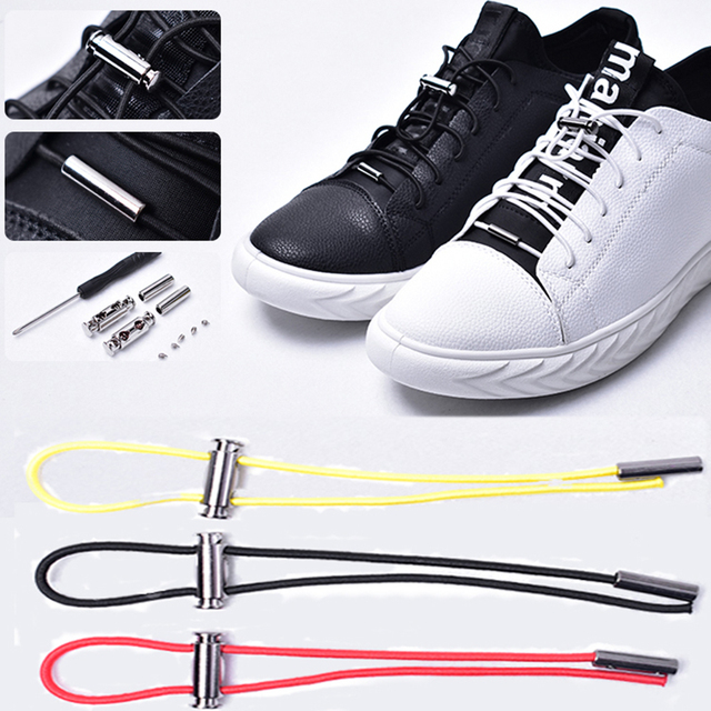 Hot 1Pair Shoelaces Elastic No Tie Locking Round Shoelace Kids Adult Sneakers Quick Shoelaces 100cm Round Shoe Laces Strings