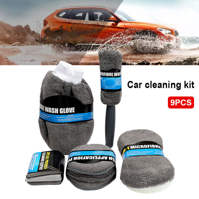 Vehemo Cars 9pcs Car Wash Kit Home Car Cleaning Supplies Car Cleaning Kit Universal Durable Wheel Brush Microfiber