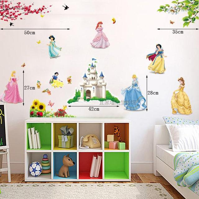 Free shipping Snow White Cartoon Wall stickers three generations of wall stickers Kids Nursery Children's Bedroom Decals