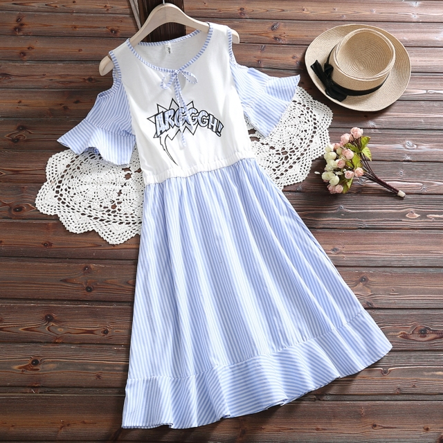 Mori girl blue white striped dress new summer fashion preppy style short sleeve cute casual dress