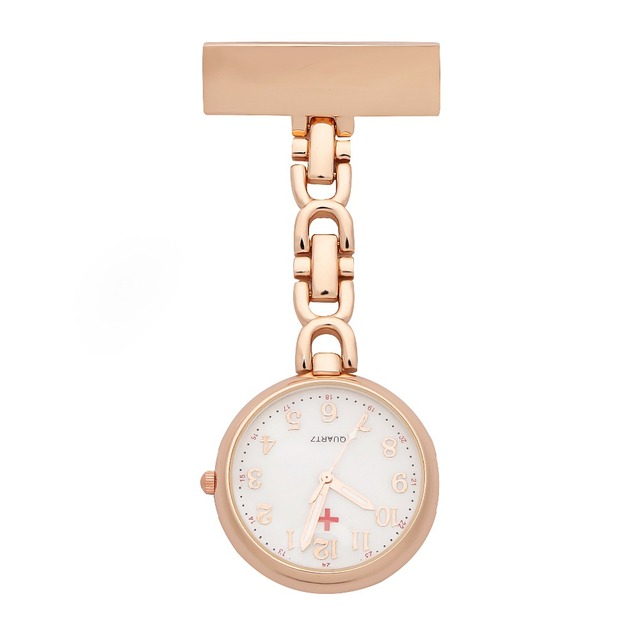Nurses Lapel Pin Watch Analog FOB Infection Control Watch Rose Gold Red Cross Brooch Nurses Watch Hanging Medical Pocket Watch