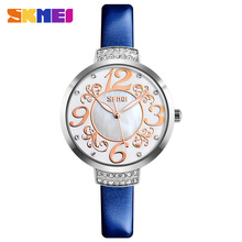 SKMEI Ladies Fashion Quartz Watch Women Rhinestone Leather Casual Dress Women's Watch Female Clock Relogio Feminino reloje mujer