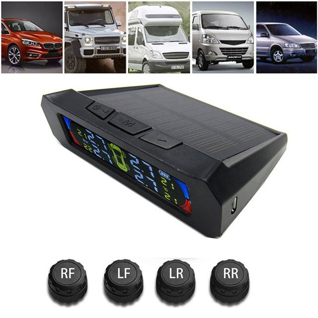 Black Lcd Anti-Explosion Tire Pressure Monitoring System High Performance Tire Pressure Alarm TPMS Durable Low Energy