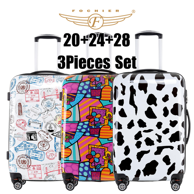 """2017 New Women Men Luggage Colorful Free Match 3pcs set (20""""+24""""+28"""") 3 piece luggage sets Rolling Luggage cow flower stamp"""