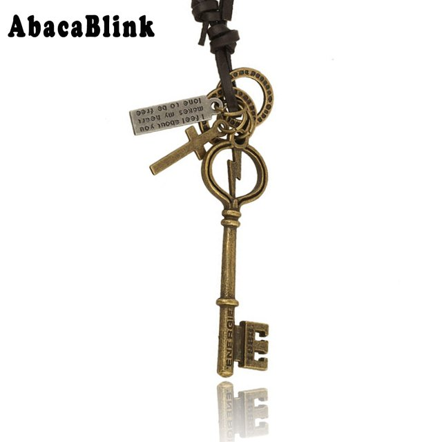 collier Jewelry Vintage Alloy Lightning Key Pendant Necklaces For Men Women High Quality Leather Rope Chain Necklace Choker Gift
