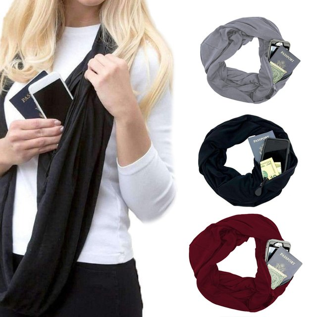 Neckerchief Scarf Pocket Scarf Practical Warm Pocket with Zipper Fashion Winter Creative Outdoors Pure Color
