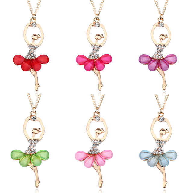 2020 New Fashion Multicolor Crystal Ballet Girl Pendant Necklace Acrylic Gold Fairy Princess Girl Pendant Chain Necklace Jewelry