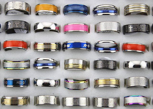 Fashion 36 pcs Stainless Steel Ring Wholesale Lot Ring Jewelry Mix Lots Rings For Men Women Cheap Finger Rings