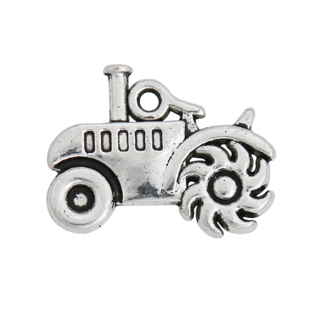 RAINXTAR Fashion Alloy Tractor Charms For Farmer Father's Day Gift Jewelry Making DIY Charms 15*20mm 50pcs AAC1658