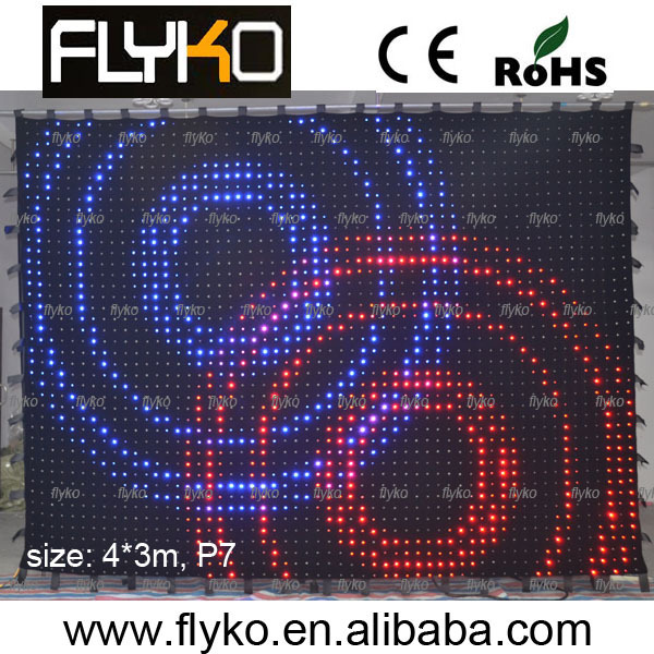 flexible led curtain (4m*3m) pitch 70mm led cloth/music led vision curtain/wedding lighted curtain