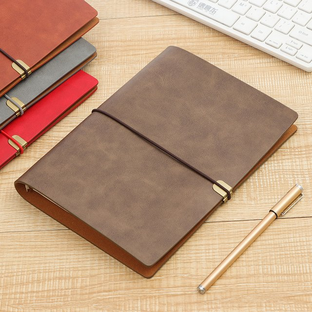RINGCA A5 Loose-leaf Notebook Business Travel Book Soft Leather Strap Notebook 1PCS