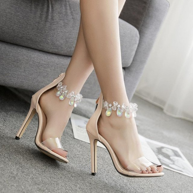 New fashino Rhinestone Transparent Stiletto Sandals 2018 summer women  Shoes sexy Crystal Ankle Wrap Lady High Heels Shoes