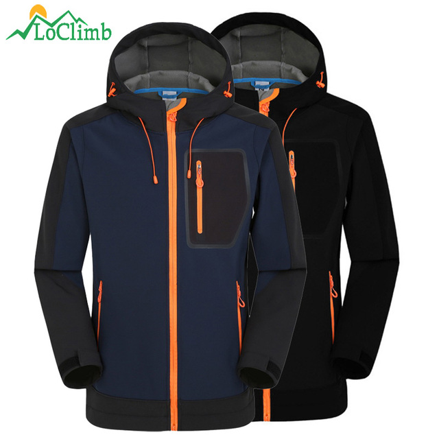 LoClimb Softshell Jacket Men Windproof Waterproof Jacket Men's Soft Shell Windbreaker Rain Coat Trekking Hiking Jackets AM039