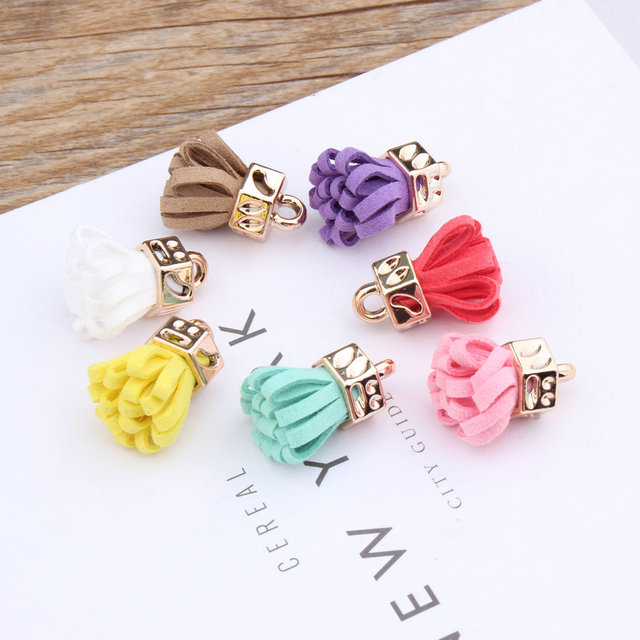 New Design Alloy Cap decoration Colorful Suede Tassel flowers Shape Handmade Charms Diy Jewelry Bags/Keychain/Earring Pendants