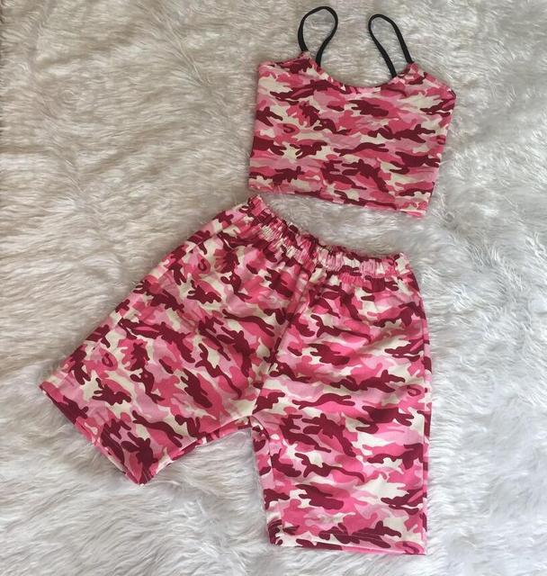 2019 Summer Pink Camouflage Short Pant and Crop Top Women Casual 2 Piece Set Plus Size Strapless Two Piece Set Outfit Tracksuit